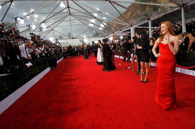 """. Actress Jessica Chastain, from the film \""""Zero Dark Thirty\"""", arrives at the 19th annual Screen Actors Guild Awards in Los Angeles, California January 27, 2013.  REUTERS/Mario Anzuoni (UNITED STATES  - Tags: ENTERTAINMENT)  (SAGAWARDS-ARRIVALS)"""