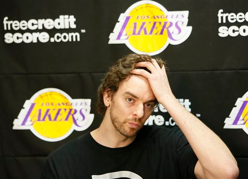 . Los Angeles Lakers power forward Pau Gasol talks to reporters during an NBA basketball news conference in El Segundo, Calif., Tuesday, April 30, 2013. The Lakers lost their first-round playoff series to the San Antonio Spurs. (AP Photo/Damian Dovarganes)