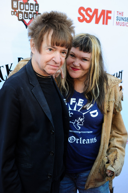 . Rodney Bingenheimer and Exene Cervenka on the red carpet before the Joan Jett and the Blackhearts concert at the House of Blues as part of the Sunset Strip Music Festival, Thursday, August 1, 2013. (Michael Owen Baker/L.A. Daily News)