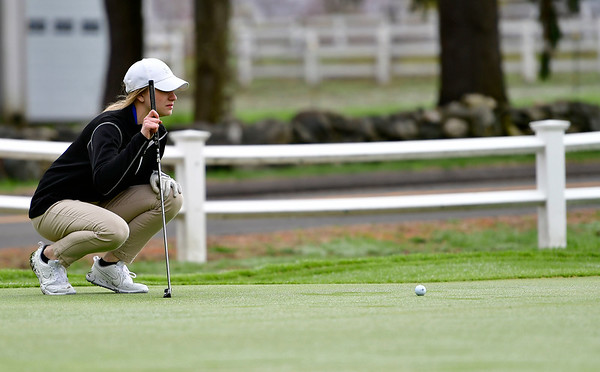 4/30/2019 Mike Orazzi | Staff Bristol Eastern's Katie Bardeck during Tuesday's match with Bristol Central at Chippanee Golf Club.