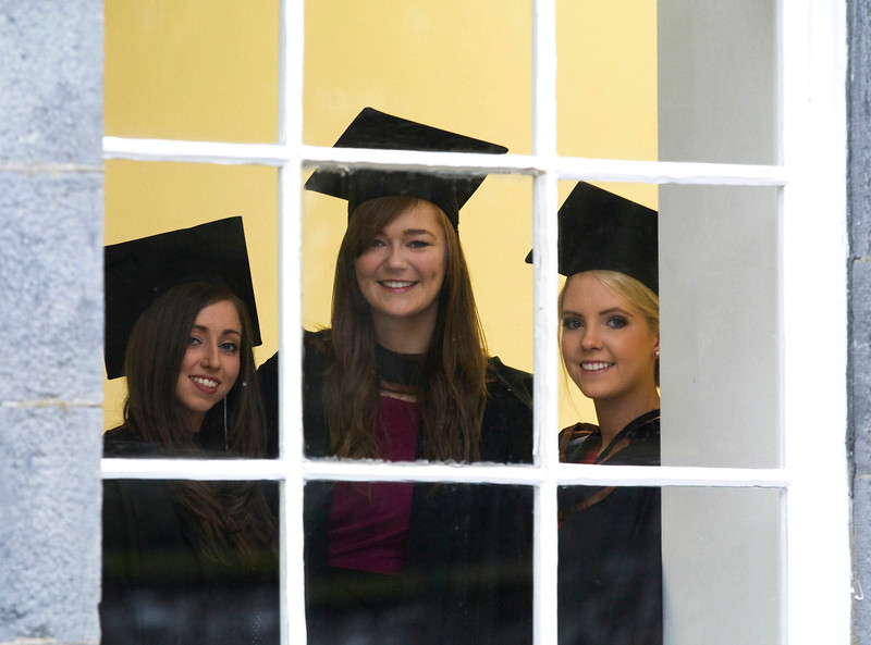 6/1/2012. News. Free to use image. Waterford Institute of Technology (WIT) conferring ceremony. Pictured are Mary Kelly, Kilkenny, Katie Dunphy, Cork and Emma Flynn Waterford who graduated with a Bachelor of Arts (Honours). Photo Patrick Browne