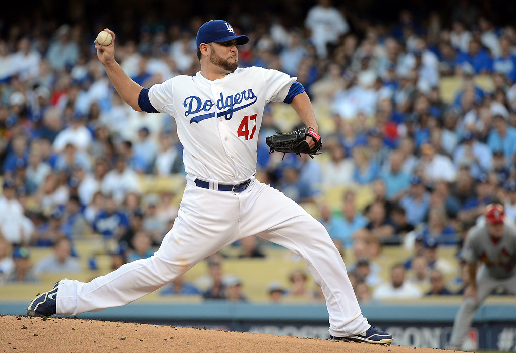 . Dodgers\' pitcher Ricky Nolasco #47 delivers against the Cardinals during game 4 of the NLCS at Dodger Stadium Tuesday, October 15, 2013. (Photo by David Crane/Los Angeles Daily News)