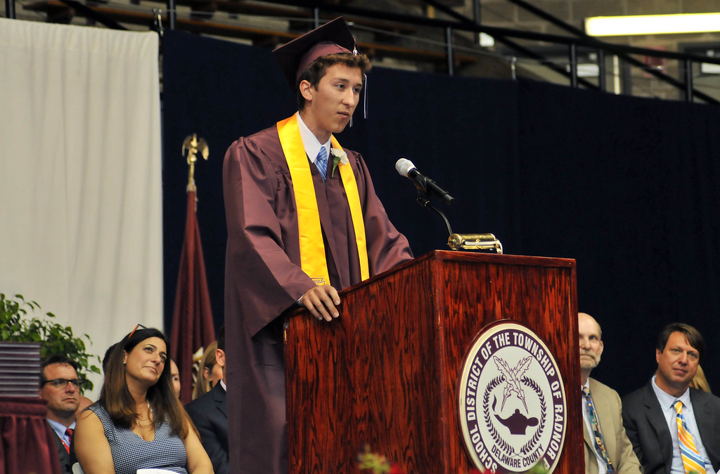 . Robert Palmer delivers the Valedictorian speech at the 2015 Radnor High School Commencement Ceremony on Wednesday evening. (Stephanie Peditto/Main Line Times)