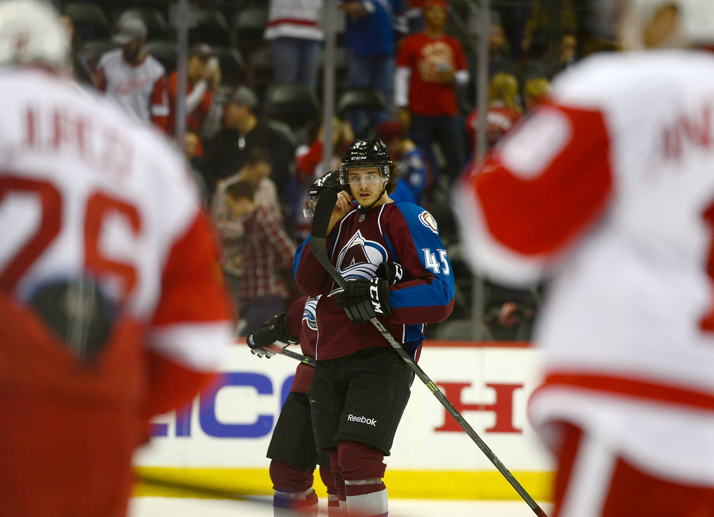 . DENVER, CO - February 5: Colorado Avalanche right wing Dennis Everberg (45) heads off the ice after the loss to the Detroit Red Wings Thursday, February 5, 2015 at the Pepsi Center in Denver, Colorado. The Avalanche lost 3-0 to the Red Wings. (Photo By Brent Lewis/The Denver Post)
