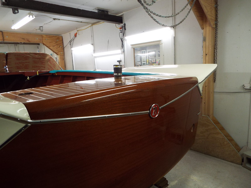 Transom moldings and fuel vent cover installed.