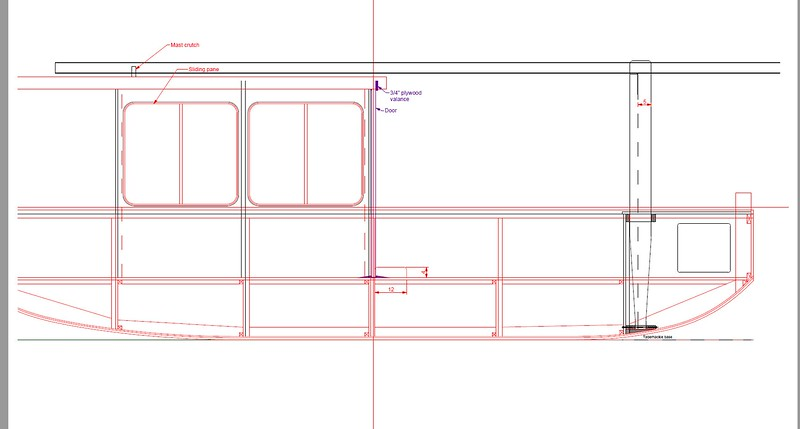 Draft of the centerline section. Not shown: leeboards/off-center boards, which have not yet made it into the construction drawing. I'll post the finished version when it's done. Drawing by Christopher Lariviere