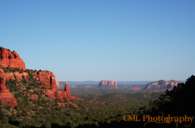 The view from Fay Canyon.  You can see Courthouse Butte and Bell Rock.