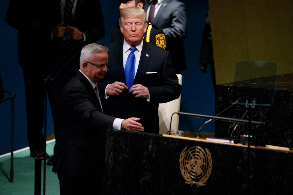 . President Donald Trump arrives to deliver a speech to the United Nations General Assembly, Tuesday, Sept. 19, 2017, in New York. (AP Photo/Evan Vucci)