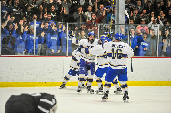 2/25/17 2:25:46 PM Hamilton College Men's Hockey v Bowdoin College in a NESCAC Quarterfinal at Russell Sage Rink, Hamilton College, Clinton, NY<br /> <br /> Photo by Josh McKee