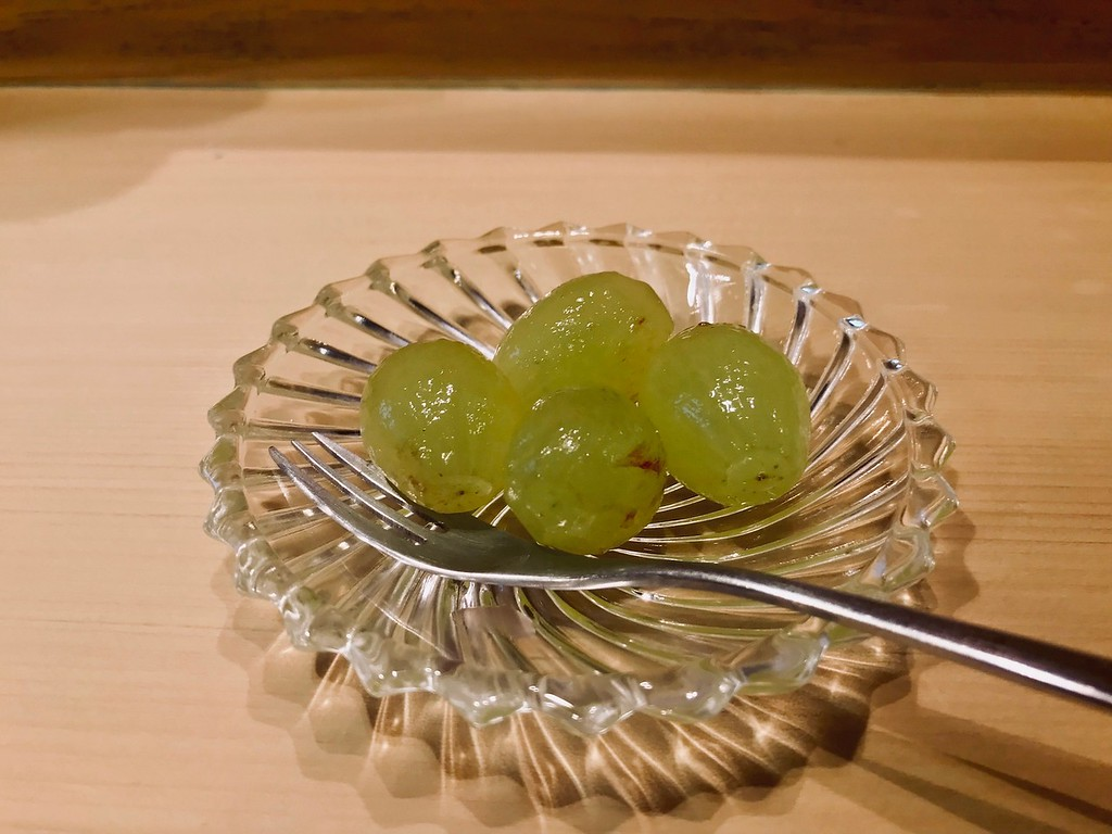 Peeled grapes for dessert.