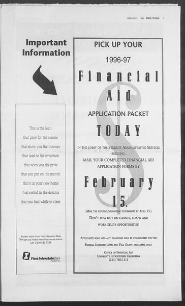 Daily Trojan, Vol. 127, No. 14, February 01, 1996