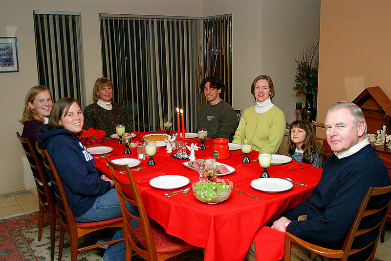 Everyone sitting at dinner.  Counterclockwise around the table.  Rich, Anisa, Linda, Jeff, Christine (Rich's wife), Elizabeth and Valerie