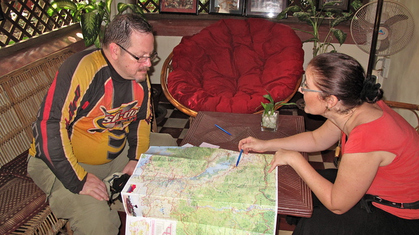 Getting some route info at Hidden Cambodia.