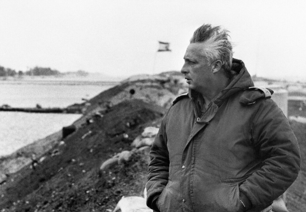 . A picture taken in January 1974 on the right bank of the Suez Canal of Israeli general Ariel Sharon a few days before he left the army to become a right-wing politician.    AFP PHOTO/-/AFP/Getty Images