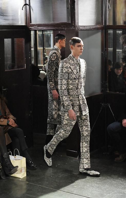 . A model walks the catwalk during the Alexander McQueen show at the London Collections: MEN AW13 at Farmiloe Building on January 8, 2013 in London, England. (Photo by Stuart Wilson/Getty Images)
