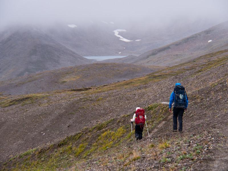 Hikers approaching Curator Lake, Skyline Trail - Jasper National Park
