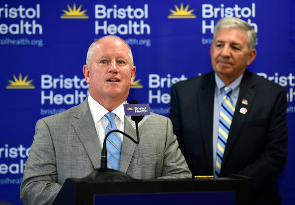 6/7/2019 Mike Orazzi | Staff Glenn Heiser and John Lodovico at the opening of Bristol Health's new downtown building on Friday.