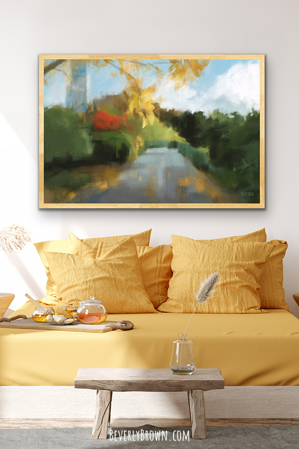 Autumn Central Park Painting Print in a room with yellow decor.
