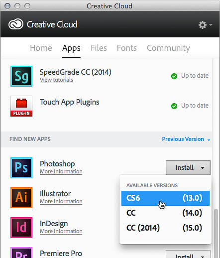 Choosing a previous version from the Install button for Photoshop in the Creative Cloud desktop application