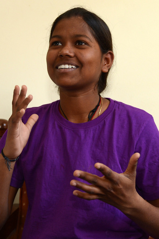 . Indian mountaineer Poorna Malavath, 13, gestures as she speaks during an interview with AFP in Kathmandu on June 2, 2014.  AFP PHOTO/Prakash MATHEMA/AFP/Getty Images