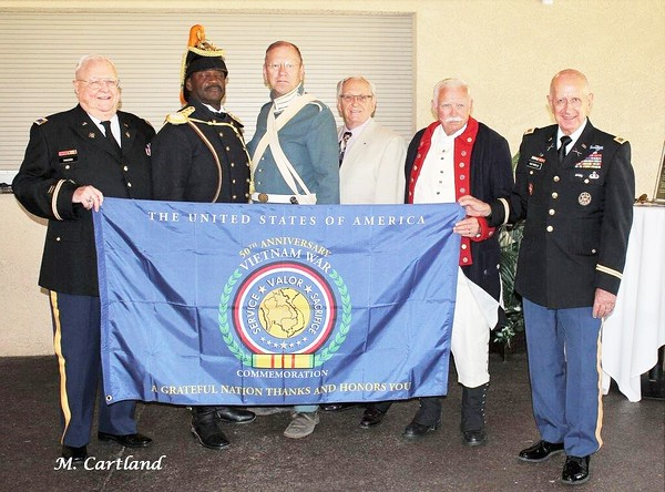 """June 14, 2015                                                      240th Army Birthday and Flag Day Luncheon  L/R: Colonel (Ret) William Roselier, USA; MSG (Ret) Fred Marable,USA- Founder of the Buffalo Soldiers of the Arizona Territory, Mesa, AZ; RM3 (Ret) David Kampf, USN; Col (Ret) Chuck Schluter, USA; LTC (Ret) Stephen Miller, USA.  Publisher, Marion Cortland """"Arizona Veterans Connection"""" newspaper."""
