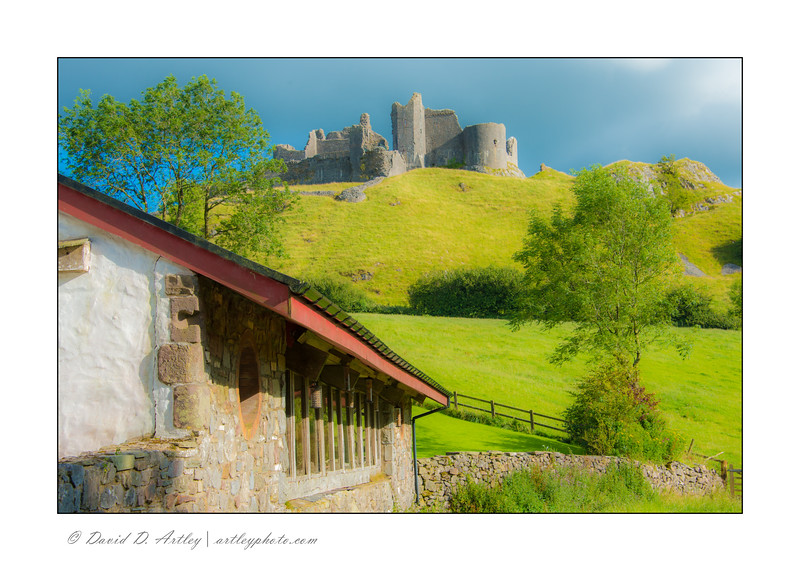 11th Century Farm Tir y Castell (Land of the Castle) Farm and Carreg Cennen Castle, Brecon Beacons National Park, Wales