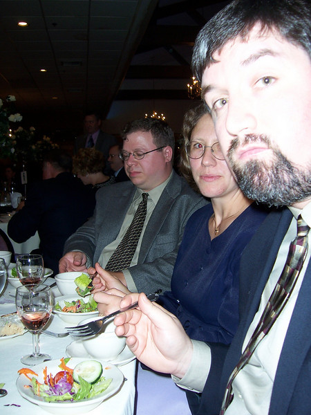 George, Pam and Brian Duke.  Hey wait, is George eating salad?  Maybe it was photoshopped.  We'll investigate.