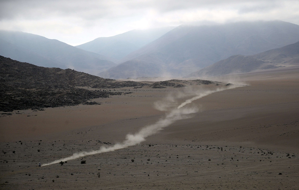 . A biker competes in the 2014 Dakar Rally Stage 12 between El Salvador and La Serena in Chile, on January 17, 2014.  FRANCK FIFE/AFP/Getty Images