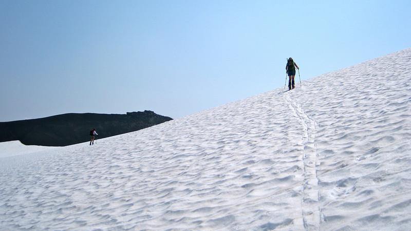 Traversing to Russsel Glacier.