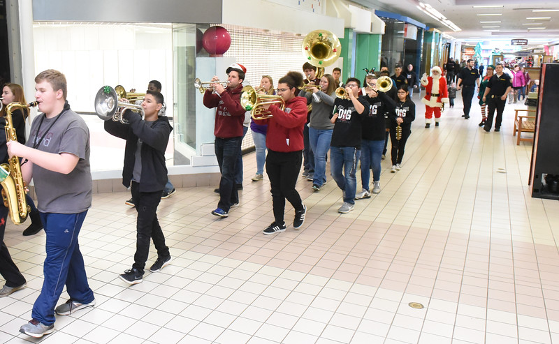 The Phillipsburg High School Marching Band was on hand to welcome Santa to the Phillipsburg Mall, Nov. 17, 2018. Santa arrived aboard a Lopatcong Township Fire Truck escorted by Pohatcong and Lopatcong Township police.