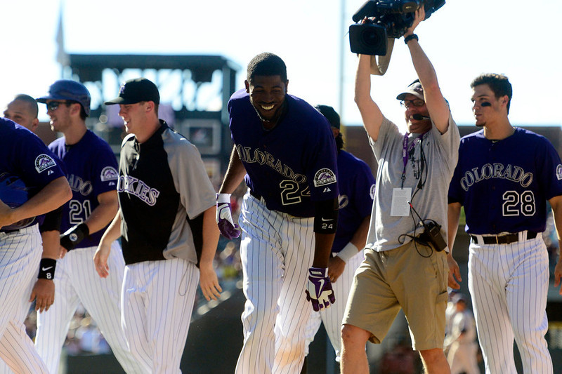 . DENVER, CO - JUNE 9: Colorado Rockies center fielder Dexter Fowler (24) celebrates his walk-off single against the San Diego Padres during the Rockies\' 8-7 10-inning win in Denver. The Colorado Rockies hosted the San Diego Padres. (Photo by AAron Ontiveroz/The Denver Post)