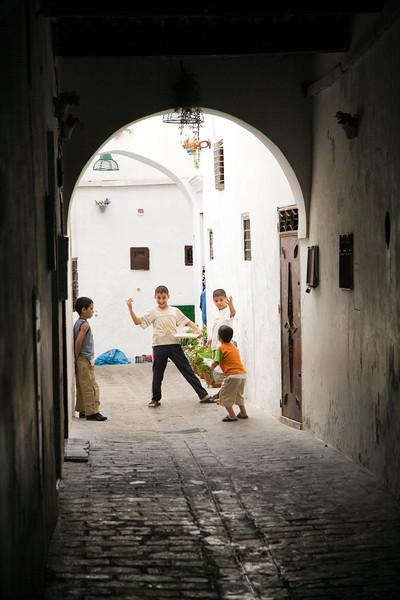 Children playing on the street, Tetouan medina, Morocco