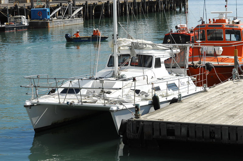 21 APR 2007 Townsville, QLD - 9.8m catamaran Kaz II is examined by forensic police at Townsville port - PHOTO: CAMERON LAIRD (Ph: 0418238811)