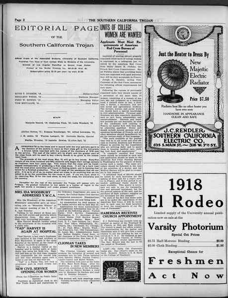 The Southern California Trojan, Vol. 9, No. 42, April 20, 1918