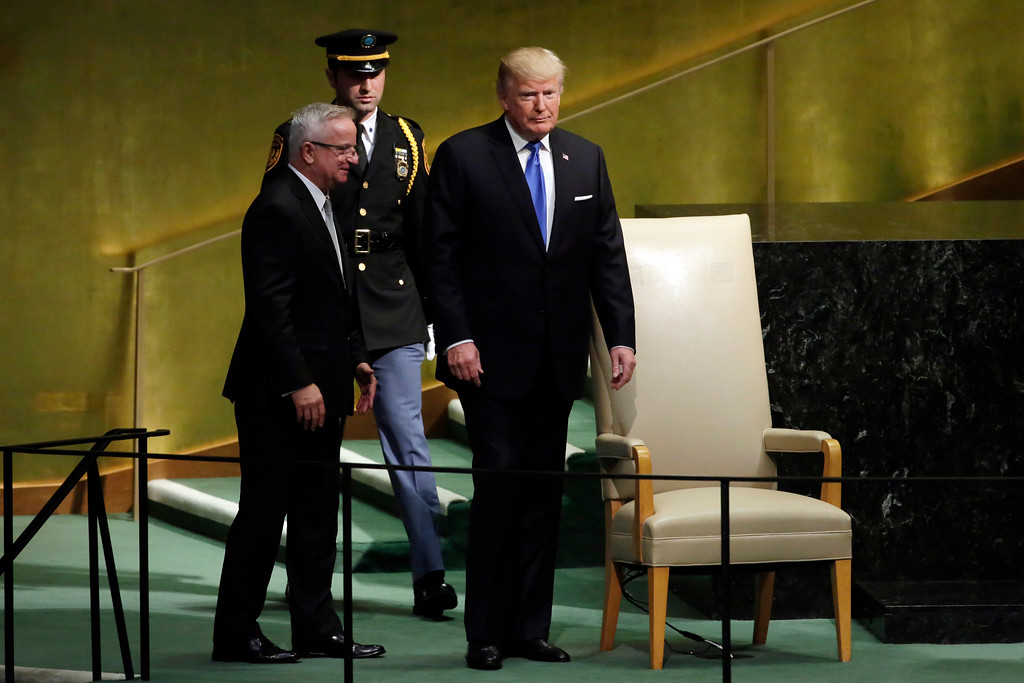 . U.S. President Donald Trump arrives to address the 72nd session of the United Nations General Assembly, at U.N. headquarters, Tuesday, Sept. 19, 2017. (AP Photo/Richard Drew)