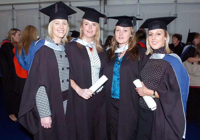 Provision 251006 Emer McCarthy (Waterford), Aoife McCarthy (Waterford), Caitriona King (Tipperary) and Rebecca McInerney (Clare) graduated with Bachelor of Arts in Legal Studies from WIT on Wednesday 25th October. PIC Bernie Keating/Provision