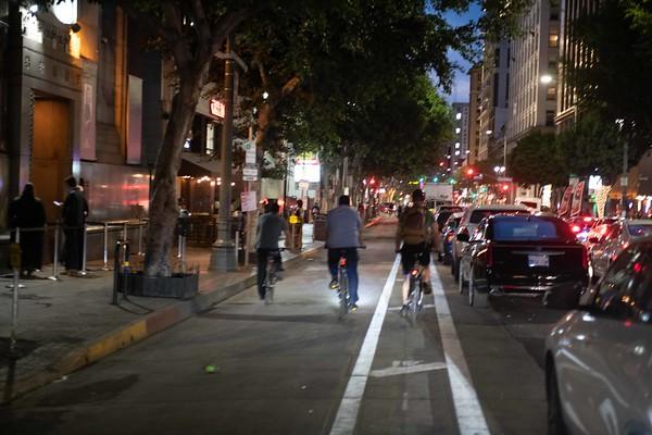 spring street  LA Parking separated lanes