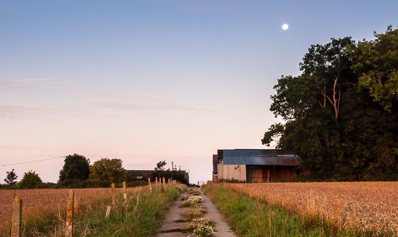 Moon over a Dorset farm