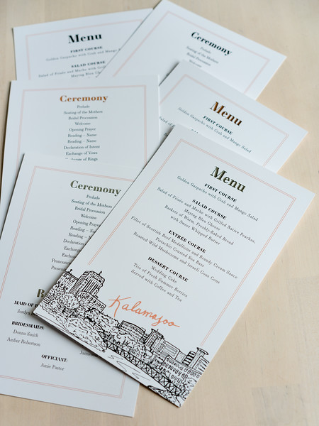Product Photography | The Printed Event (Wedding Invites) Kalamazoo Menu and Ceremony
