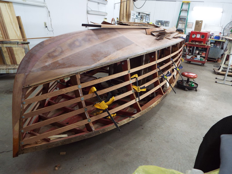 Front starboard view of the new side battens being fit.
