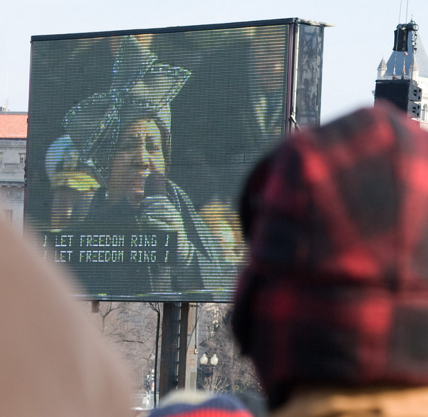 "Aretha Franklin sings ""My Country Tis of Thee"" -- Presidential Inauguration for Barack Obama, Jan 20, 2009. It was about 25 degrees out with a crowd estimated at 1.5-1.8 million people."