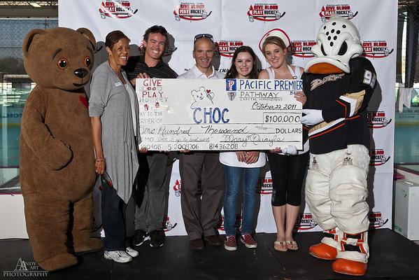 2011 Give Blood Play Hockey CHOC Check Presentation & Sponsor Awards