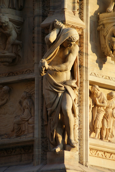 Milan, Italy.  Duomo Cathedral sculptures.