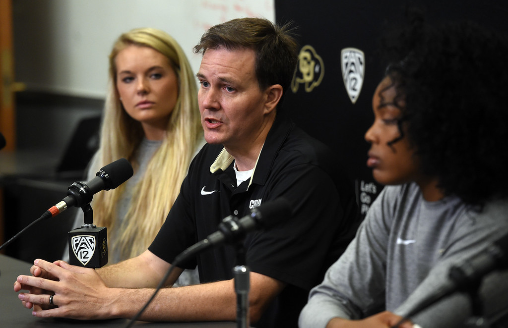 . CU volleyball coach, Jesse Mahoney, during CU football and Fall sports media day. For more photos, go to dailycamera.com. Cliff Grassmick  Staff Photographer  August 4, 2018