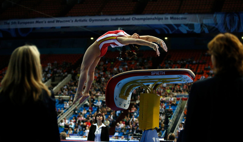 . Spain\'s Maria Paula Vargas competes on the vault during the women\'s all-around final at the European Men\'s and Women\'s Artistic Gymnastic individual Championships in Moscow April 19, 2013.  REUTERS/Grigory Dukor