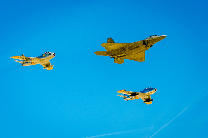 Heritage Flight of the F-22 (2005) and F-86 Sabre Jets (1949)
