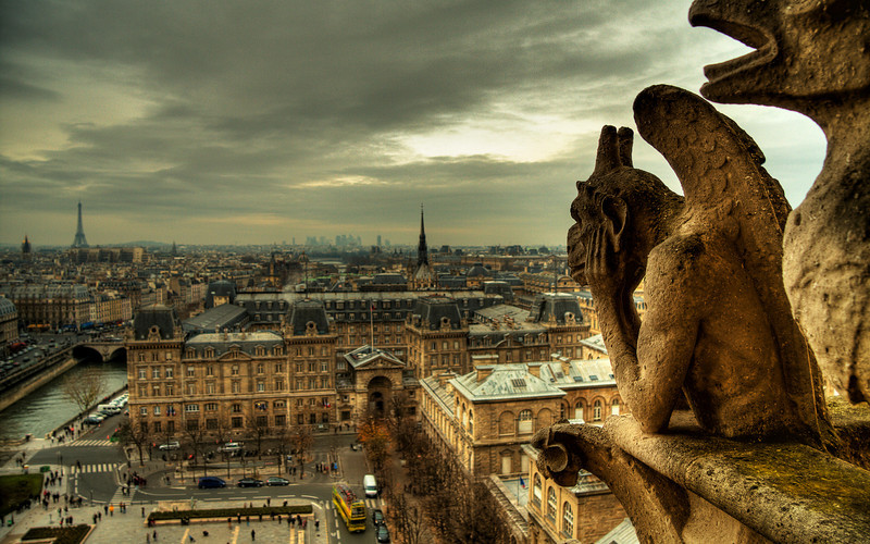Dark Contemplation: The Gargoyles of Notre Dame Cathedral (HDR Image)