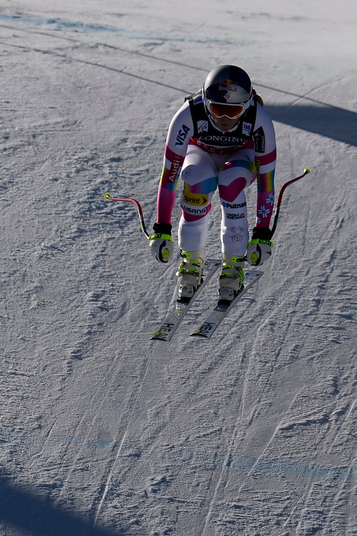 . BEAVER CREEK, CO - FEBRUARY 09: Lindsey Vonn of the USA nearly falls during the men\'s alpine combined final. FIS Alpine World Ski Championships 2015 on Monday, February 9, 2015. (Photo by AAron Ontiveroz/The Denver Post)