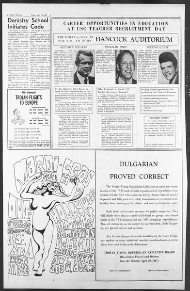 Daily Trojan, Vol. 58, No. 122, May 12, 1967