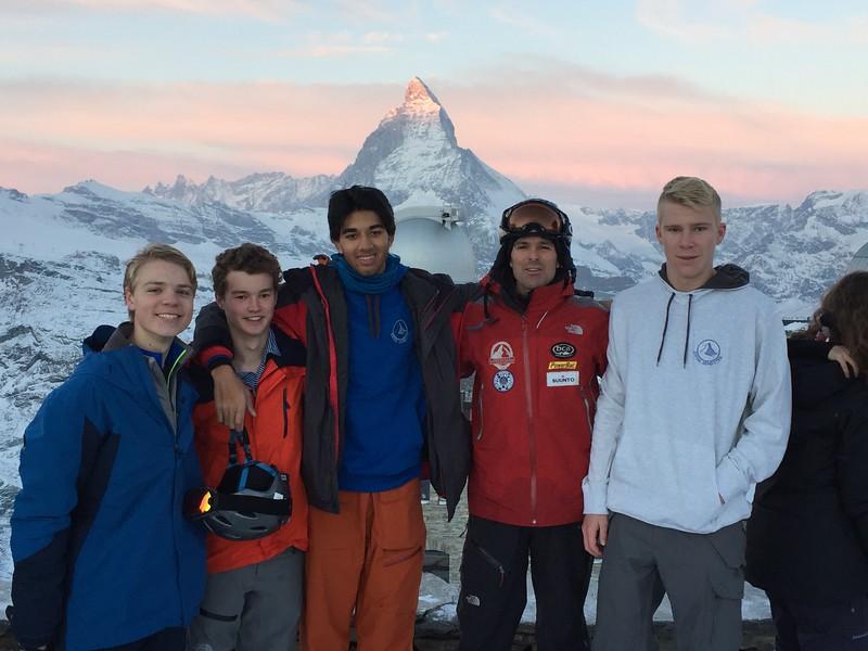 Mr. Silitch's advisory at Gornergrat:  Colton, Matt, Pranav, Mr. Silitch, and Lucas